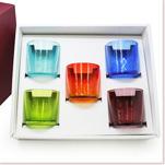 ロックグラス5個セット(オレンジ・青・水・緑・紫)